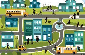 Image représentant une ville active et inclusive