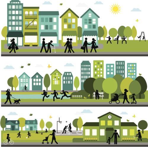 Trois dessins horizontaux représentant un pâté de maisons, un parc et une école avec des citoyens actifs