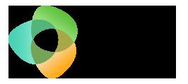 """Trois formes ovales orange, bleue et verte qui s'entrecroisent avec à droite l'incription """"Société inclusive"""""""