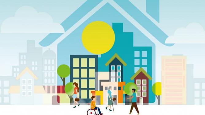 Image représentant une habitation avec des citoyens sans incapacité et avec incapacités