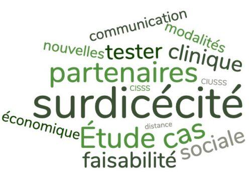 Nuage de mots en différentes teintes de vert : surdicécité, partenaires, étude de cas, faisabilité, communication, clinique, sociale, économique