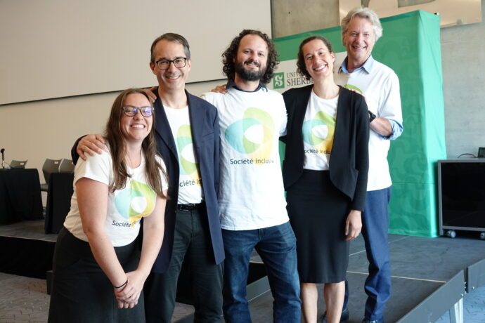 Le Comité exécutif de Société inclusive (de gauche à droite) : Émilie Blackburn, Philippe Archambault, David Fiset, Fabienne Boursiquot et Pierre Chabot.