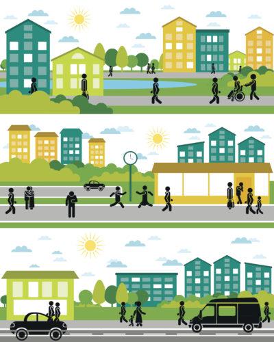 Représentation graphique d'une ville et ses habitants en déplacement en voiture, à pied, en fauteuil roulant