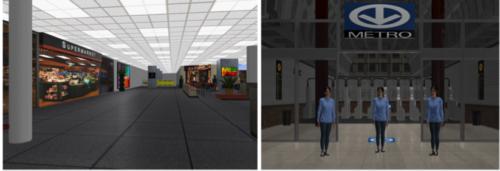 Deux exemples d'avatar tirés d'un scénario de réalité virtuelle dans un centre d'achats et dans une station de métro