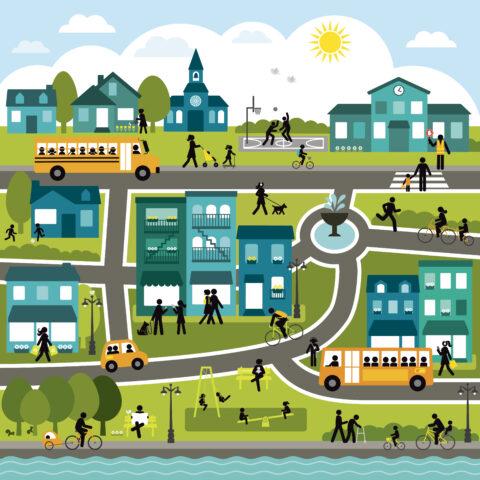 Représentation graphique d'une ville active avec des personnes de tous les âges se déplaçant à pied, à vélo, en bus, jouant au parc ou lisant le journal sur un banc