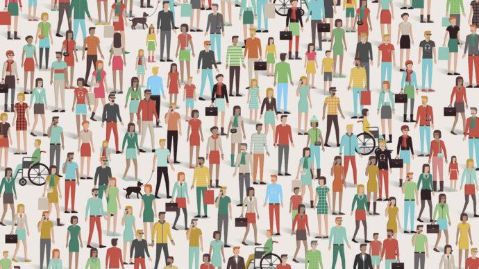 Représentation graphique d'une foule colorée, composée de personnes de différents âges. Certaines sont debout, en fauteuil roulant, portant des lunettes, avec un chien en laisse, parlant au téléphone.
