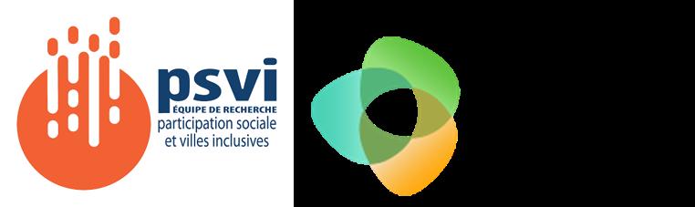 Logos de Participation sociale et villes inclusives (PSVI) et Société inclusive
